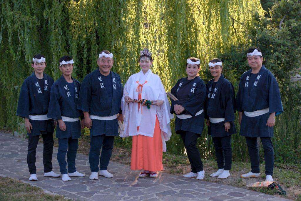 miko at Nippon Matsuri 2019 with traditonal japanese drum players